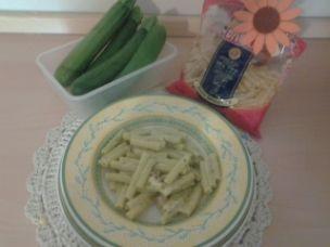 Mezzani con crema di zucchine e pancetta