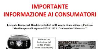 Attenzione: richiamo macchina caffè Silvercrest