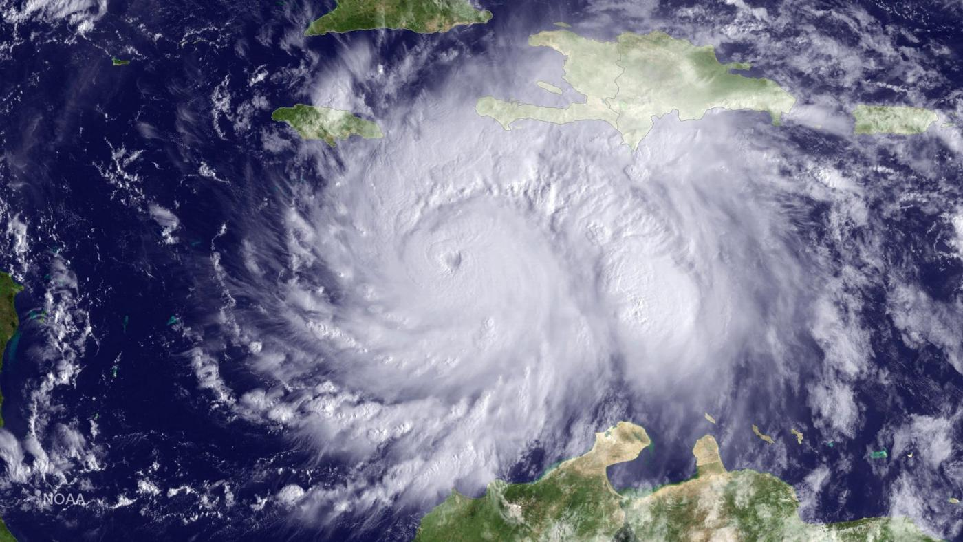 Hurricane Matthew is seen in the Caribbean Sea an image from NOAA's GOES East satellite taken at 09:45am ET (13:15 GMT) October 3, 2016.  NOAA/Handout via REUTERS   THIS IMAGE HAS BEEN SUPPLIED BY A THIRD PARTY. IT IS DISTRIBUTED, EXACTLY AS RECEIVED BY REUTERS, AS A SERVICE TO CLIENTS. FOR EDITORIAL USE ONLY. NOT FOR SALE FOR MARKETING OR ADVERTISING CAMPAIGNS