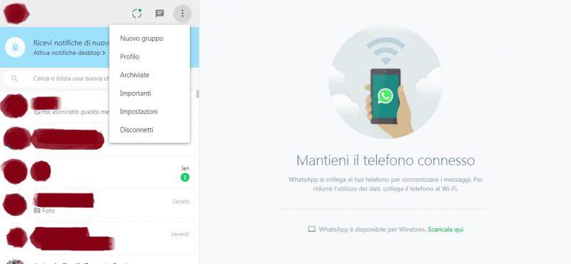 GUIDA IMPOSTAZIONI WhatsApp Web