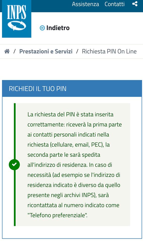 pin inps richiesta