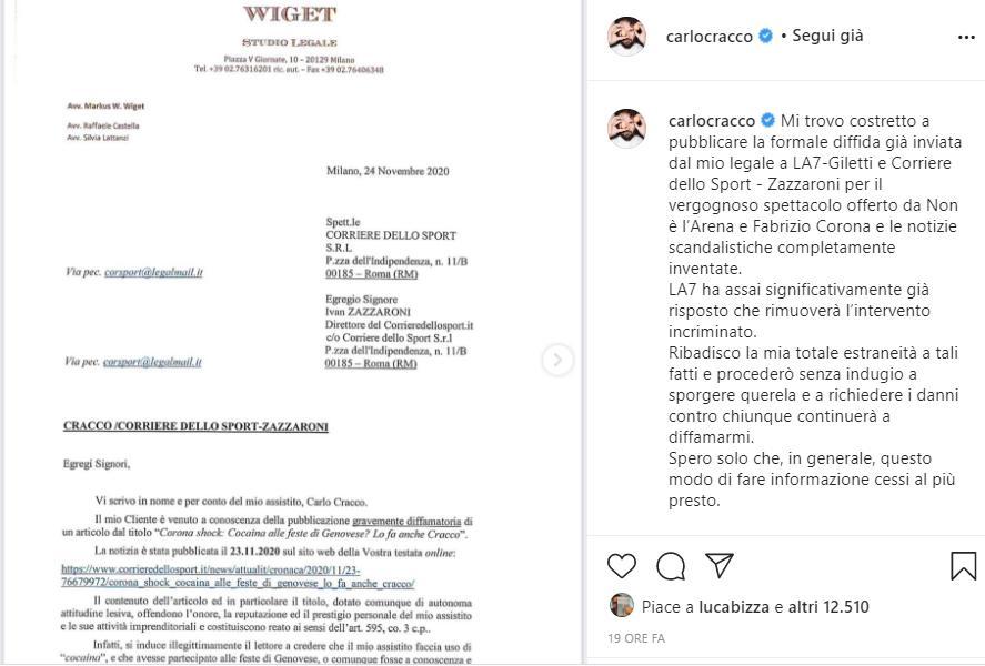 Carlo Cracco diffida Giletti e Zazzaroni in seguito al caso Genovese