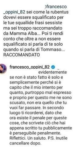 GFVIP, Francesco Oppini vs gli haters: minaccia denunce